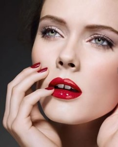chanel red lipstick and nails