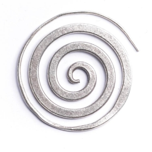 Tribal_silver_spiral_single_handmade_earrings
